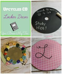 Great Upcycled CD Locker Accessories!  Turn old scratch CD's into mirrors, monogrammed decor and more!