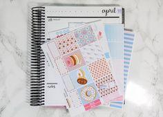 Donuts horizontal planner sticker kit - Erin Condren horizontal sticker kit - planner stickers - planner kit - pink - blue by PrettyEasyPlanning on Etsy