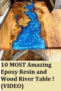 10 MOST Amazing Epoxy Resin and Wood River Table ! - Bookshelves and woodwork - 10 MOST Amazing Epoxy Resin and Wood River Table ! Awesome DIY Woodworking Projects and Products (V - Woodworking Projects Diy, Popular Woodworking, Diy Wood Projects, Wood Crafts, Woodworking Plans, Woodworking Furniture, Woodworking Epoxy Resin, Sauder Woodworking, Woodworking Articles