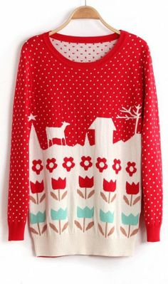 Sweet cute cottage flowers dot knitted Christmas sweater red