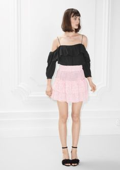 & Other Stories image 1 of Frill Skirt in Pink Print