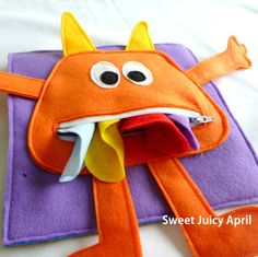 Monster Zipper Mouth Quiet Book Page by SweetJuicyApril on Etsy