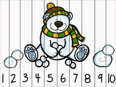 Winter Fun Counting Number Puzzles - Kindergarten Smarts - www. Counting Puzzles, Number Puzzles, Maths Puzzles, Preschool Puzzles, Autism Activities, Winter Activities, Animal Puzzle, Polar Animals, Winter Kids