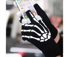 Kapacitív érintő képernyős csontváz kesztyű, hogy télen is használhasd mobilodat tableted, kesztyű levétel nélkül.