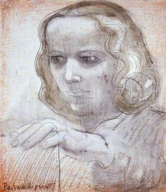 """Barbara Hepworth also showed her work in the """"Beaux Arts Gallery"""" and i can see some similarity between Leon Kossoff's painting """"Head of Seedo"""" and this one.Date painted: 1950"""