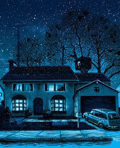 Austin-based illustrator and print-maker Tim Doyle first started creating these dark and dismal Simpsons-themed artworks as part of his first UnReal Estate gallery show, which re-imagined iconic locations found in the fictional worlds of well-known television shows (including - d'oh! - Springfield, the town where the Simpsons live) and films in pop culture.