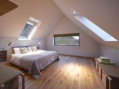 Colbost House: Dualchas Architects reinvent the Scottish black shed on the Isle of Skye Attic Bedroom Designs, Modern Bedroom Design, Contemporary Bedroom, Loft Room, Bedroom Loft, Master Bedroom, Contemporary Architecture, Architecture Design, Architecture Wallpaper