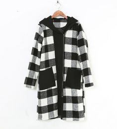 Long Coats – Black White Check Winter women coat outwear 376 – a unique product by AiFang on DaWanda