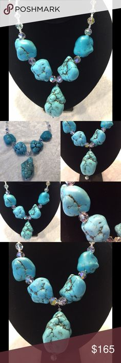 Turquoise and Swarovski AB stone necklace Design and made by hand by a local designer this extra large turquoise stone and AB Swarovski stones that shimmer in many colors necklace will make you a star . Original $ 379.00 Jewelry Necklaces