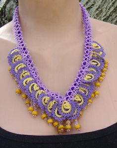 Necklace with Needle Art (oya) and glass beads