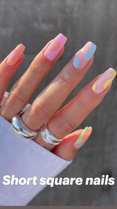Cute Gel Nails, Cute Simple Nails, Super Cute Nails, Acrylic Nails Coffin Short, Acrylic Nails Pastel, Acrylic Summer Nails Almond, Squoval Acrylic Nails, Short Square Acrylic Nails, Short Square Nails