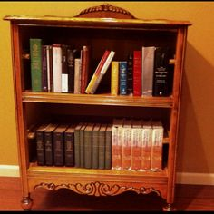 My husband turned an antique dresser into bookshelves for his office
