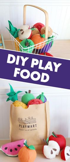 Are you looking for easy DIY felt food patterns, ideas, and templates for kids? This play food tutorial shows you how to make adorable fruits and vegetables for a play grocery store or kitchen! Felt Crafts Diy, Felt Diy, Handmade Felt, Diy For Kids, Crafts For Kids, Cool Gifts For Kids, Play Grocery Store, Felt Food Patterns, Felt Fruit