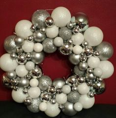 Silver and white bauble wreath.