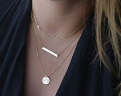 Simple and modern layered necklace set. Personalize the bar and disc with your names, initials, date, message or leave it blank. Please leave your