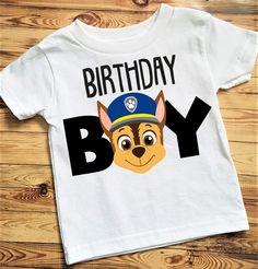 Paw Patrol Birthday Shirt - Chase, Boy Birthday Shirt, Boy Birthday, Paw Patrol Shirt, Paw Patrol Chase Birthday Shirt by LoveBackDesigns on Etsy 3rd Birthday Party For Boy, Birthday Boy Shirts, Happy Birthday Funny, Happy Birthday Greetings, Third Birthday, Birthday Party Themes, Funny Happy, Birthday Ideas, Bolo Do Paw Patrol