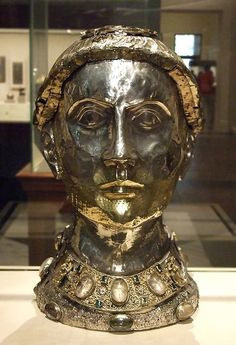 Reliquary Bust of Saint Yrieix, ca. 1200–1240, with later grill, Limoges, France.  Silver and gilded silver with rock crystal, gems, and glass.