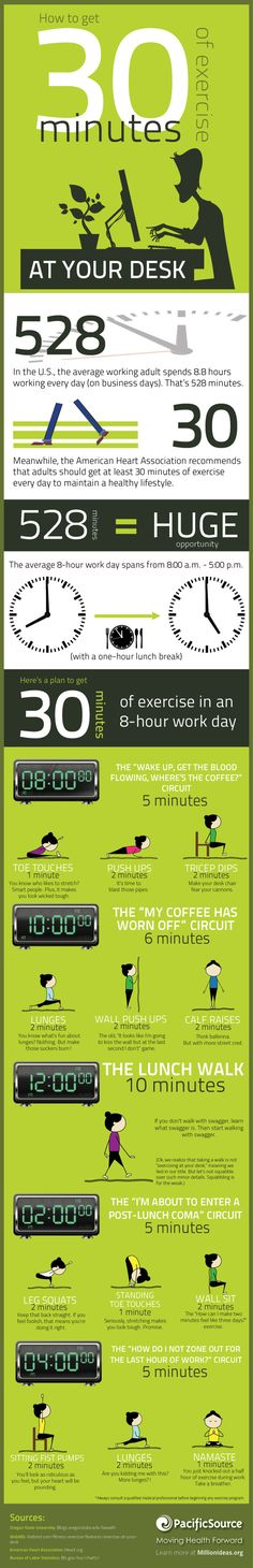 If you have a sedentary desk job, then try this circuit exercise program to improve your strength, flexibility, and overall heart health.