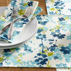 Blue Floral Margo Table Linen Collection - v1