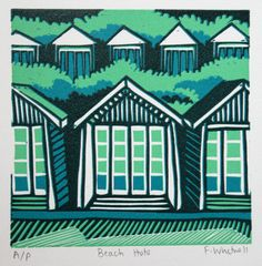 Beach Huts signed original linocut print by FrancescaWhetnall