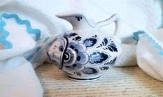Sailboat Pitcher Blue and White