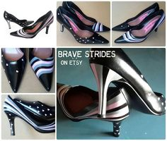 Stripes & Hearts Pumps.  Hand painted in Black  by BraveStrides