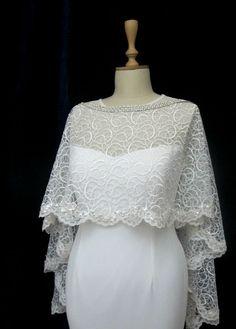 Ivory Lace Bridal Cape Shawl Lace Shrug Wedding Wrap by gebridal