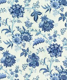 Island Gem Indigo Waverly Fabric, cotton, multi purpose fabric drapery or upholstery. Waverly Bedding, Waverly Fabric, Floral Fabric, Blue Fabric, Ocean Fabric, Plaid Fabric, Fabric Shades, Art Chinois, Art Japonais