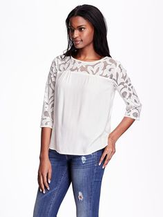 Most flattering  and pretty top ever!! Old navy cream lace sleeve draped blouse