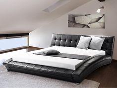 Super King Size - 6 ft - Black Leather Bed 180x200 cm - incl. stable slatted frame - LILLE | Follow Beliani UK for more bedroom inspirations! #leatherbed #blackbed