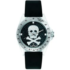 Toy Watch Skull Crystal Dial Black Satin Satrap Unisex Watch ($79) ❤ liked on Polyvore featuring jewelry, watches, crystal watches, skull watches, analog wrist watch, quartz movement watches and crystal crown