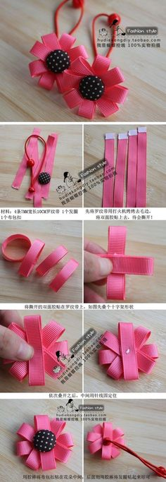 Super baby diy accessories how to make Ideas Ribbon Art, Ribbon Crafts, Flower Crafts, Ribbon Bows, Diy Crafts, Hair Ribbons, Diy Hair Bows, Felt Flowers, Fabric Flowers