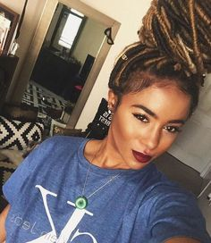 Faux locs red wine lips