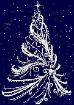 White Christmas tree cross stitch kit, pattern