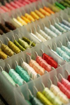 Embroidery Bracelets 365 fancy floss - photo by nanaCompany - organized! Embroidery Thread, Cross Stitch Embroidery, Embroidery Patterns, Learn Embroidery, Embroidery Floss Storage, Embroidery Bracelets, Yarn Thread, Craft Storage, Cross Stitching