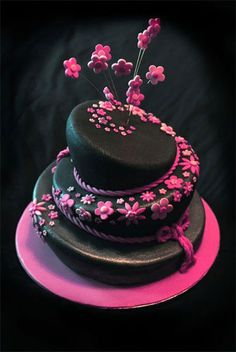 Pink and black funky birthday cake.  We just love the colors here!