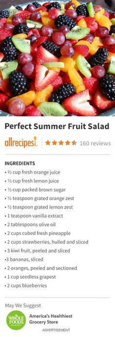 "Perfect Summer Fruit Salad | ""The perfect fruit salad for a backyard bbq or any…"