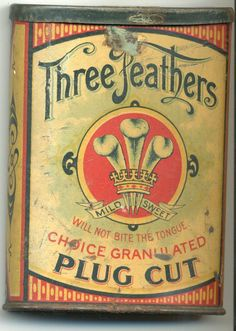 Three Feathers Plug Cut Pocket Tin - by Mebane Antique Auction