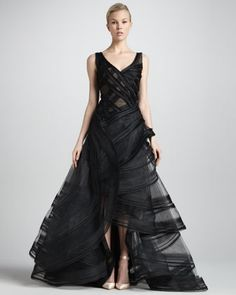 Tiered High-Low Organza Ball Gown, Black by Zac Posen at Neiman Marcus.