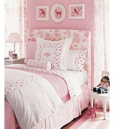 Girls pink bedroom pink toile upholstered headboard, pink walls paint color, pink drapes and pink walls paint color. Pink Bedroom For Girls, Pink Bedrooms, Pink Room, Little Girl Rooms, White Bedroom, Pink Headboard, Upholstered Headboards, Headboard Ideas, Cheap Headboards