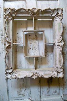 Holding this item for Dale……Distressed ornate shelf farmhouse vintage shadowbox shabby chic distressed wall decor Anita Spero