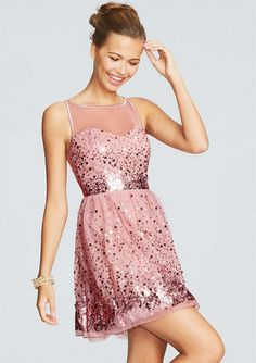 Sequin Mesh Dress (in rose) from dELiAs: $30 & comes in rose, blush, silver, winter white, black & gold