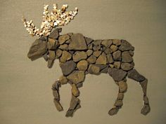 Moose - mixed media slate and crushed sea shell mosaic