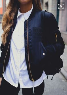 like the button down & bomber jacket combo