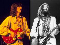 """George Harrison's 1957 Les Paul Given to him from Eric Clapton. Starting life as a """"Goldtop"""" it was refinished red by previous owner Rick Derringer, who had purchased it from the Lovin' Spoonful's John Sebastian. After buying it in NYC and bringing it back to the UK to give to Harrison, who named it """"Lucy"""" after Lucille Ball, Clapton used the guitar on The Beatles recording of """"While My Guitar Gently Weeps"""" and borrowed it for his legendary Rainbow Concert in 1973. Rick Derringer, Eric Clapton Guitar, The Lovin' Spoonful, John Sebastian, Famous Guitars, Famous Musicians, Reality Tv Shows, Lucille Ball, Rock Legends"""