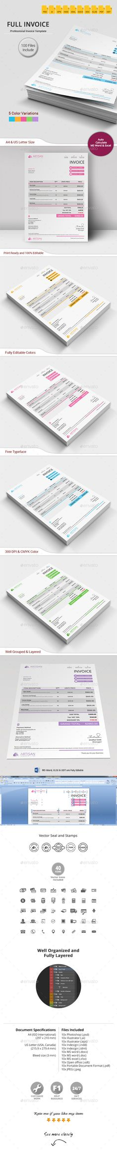 #Invoice - #Proposals & Invoices #Stationery Download here: https://graphicriver.net/item/invoice/12445963?ref=alena994