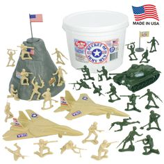 The Original Toy Soldier Bucket is back! The TimMee Tan vs. Green BUCKET of ARMY MEN includes 24 olive green and 24 tan plastic army guys, a mountain, olive green Patton Tank, tan Fighter Jets, and 2