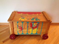 Vintage Large Wooden Toy Box Toy Wagon On Wheels Circus Train Monkey Lion Clowns