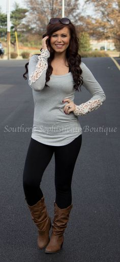 H.Gray Crochet Sleeve Top / Southern Sophisticate Boutique