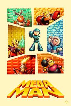 Mega Man Tribute Poster by Jonatan Iversen-Ejve